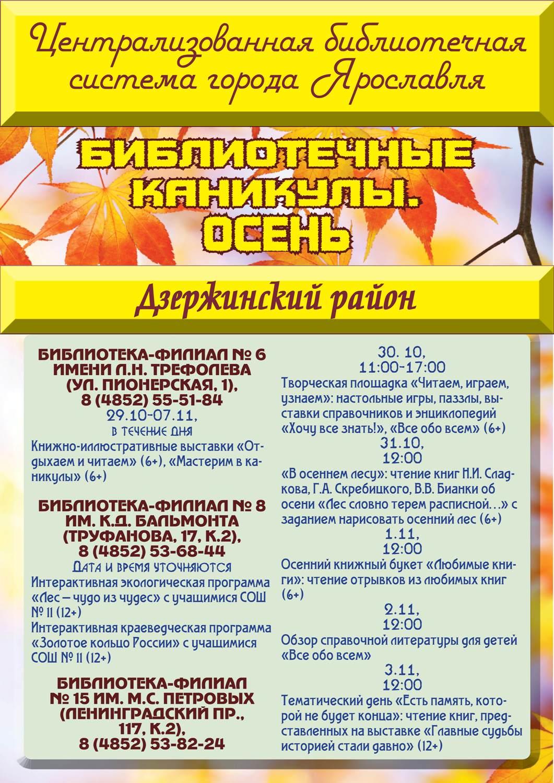 Осенние каникулы в библиотеках. Дзержинский район